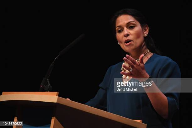 Secretary of State for International Development Priti Patel speaks during the annual Conservative Party Conference on September 30 2018 in...