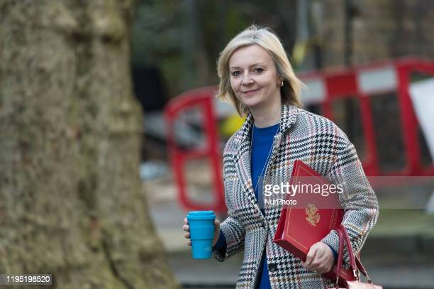 Secretary of State for International Trade and President of the Board of Trade Minister for Women and Equalities Liz Truss attends a weekly Cabinet...