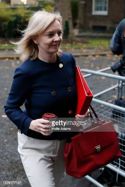 Secretary of State for International Trade Elizabeth Truss arrives at Downing Street for the weekly cabinet meeting on October 20 2020 in London...