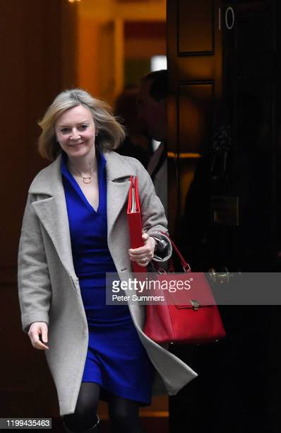 Secretary of State for International Trade Elizabeth Truss leaves 10 Downing Street following a Cabinet meeting on January 14 2020 in London England