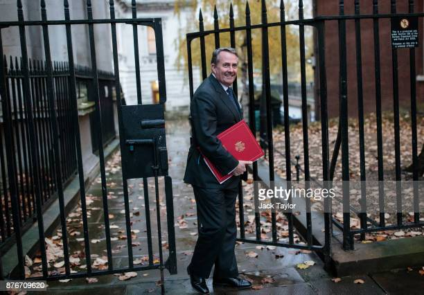 Secretary of State for International Trade Liam Fox arrives for a meeting at Downing Street on November 20 2017 in London England British Prime...