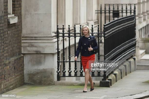 Secretary of State for Justice Elizabeth Truss arrives for a cabinet meeting at 10 Downing Street on March 29 2017 in London England Later today...