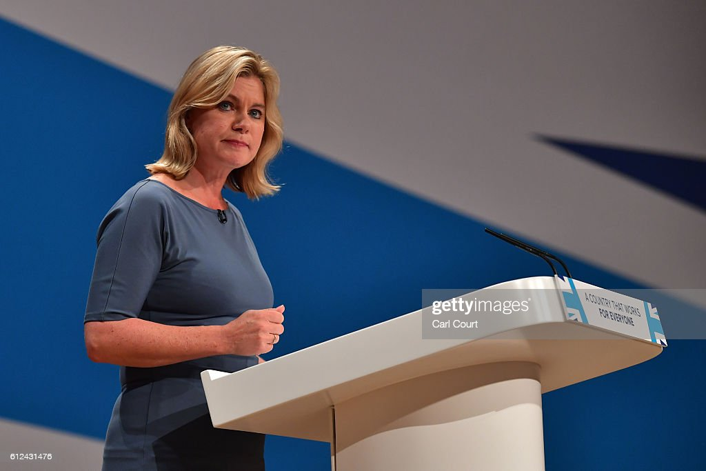 Secretary of State for Justine Greening delivers a speech on the third day of the Conservative Party Conference 2016 at the International Conference Centre on October 4 2016 in Birmingham England. Ministers and senior Party members will address delegates throughout the day with a number of speeches discussing 'a society that works for everyone'.