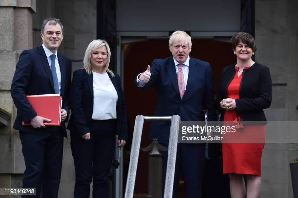 Secretary of State for Northern Ireland, Julian Smith, Deputy First Minister Michelle O'Neill of Sinn Fein, British Prime Minister, Boris Johnson and...