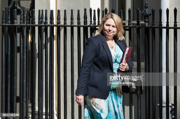 Secretary of State for Northern Ireland Karen Bradley arrives for a weekly cabinet meeting at 10 Downing Street in central London June 26 2018 in...