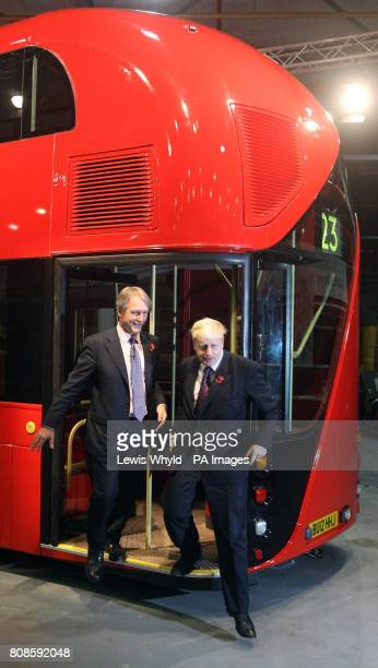 Secretary of State for Northern Ireland Owen Paterson and London Mayor Boris Johnson during the unveiling a lifesize mockup of the new hopon hopoff...