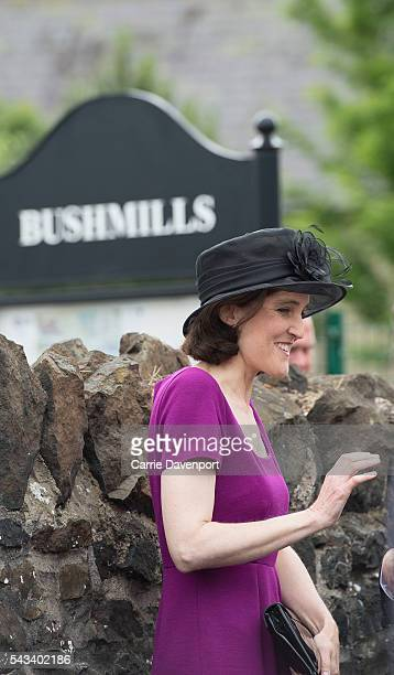 Secretary of state for Northern ireland Theresa Villiers attends the Queen Elizabeth II Prince Philip Duke Of Edinburgh arrival at he unveiling of...