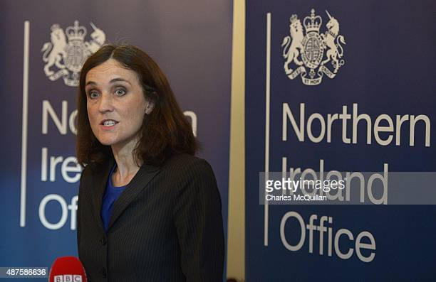 Secretary of State for Northern Ireland, Theresa Villiers gives her reaction to the DUP walkout on September 10, 2015 in Belfast, Northern Ireland....