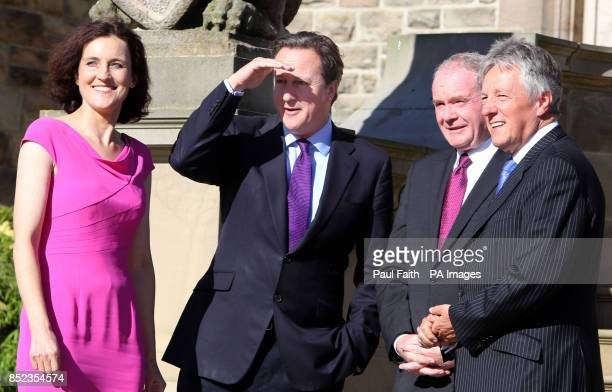 Secretary of State for Northern Ireland Theresa Villiers, Prime Minister David Cameron, Deputy First Minister Martin McGuinness and First Minister...