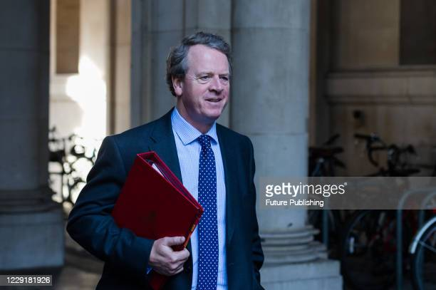 Secretary of State for Scotland Alister Jack returns to Downing Street in central London after attending weekly Cabinet meeting at the Foreign Office...