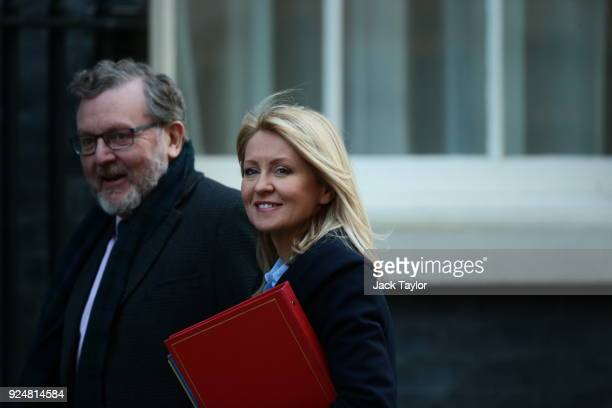 Secretary of State for Scotland David Mundell and Secretary of State for Work and Pensions Esther McVey arrive in Downing Street for the weekly...