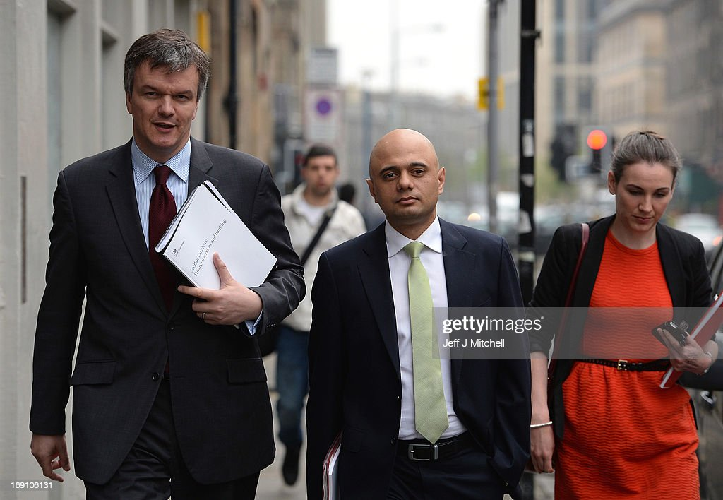 Secretary of State for Scotland Michael Moore (L) and Economic Secretary to the Treasury Sajid Javid MP attend the Launch of the Scotland Analysis Financial Services and Banking Paper on May 20, 2013 in Edinburgh, Scotland. The paper claimed that savers and pensioners would be at risk in an independent Scotland.