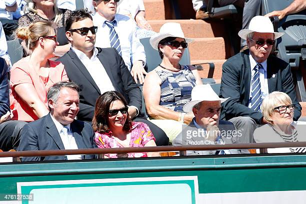 Secretary of State for Sports Thierry Braillard, Mayor of Paris Anne Hidalgo, President of FFT Jean Gachassin and his wife Minou attend the women's...