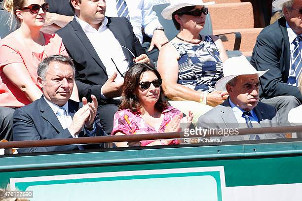 Secretary of State for Sports Thierry Braillard, Mayor of Paris Anne Hidalgo and President of FFT Jean Gachassin attend the women's Final of the 2015...