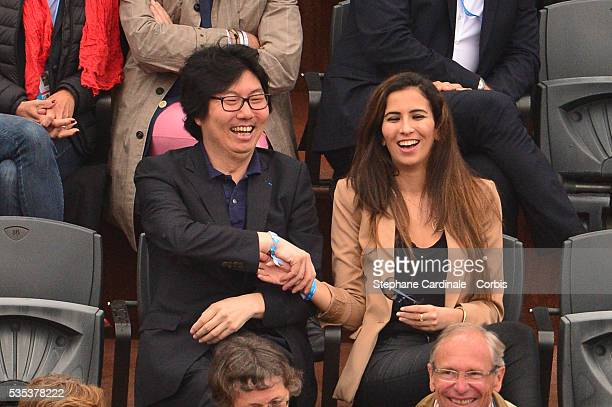 Secretary of State for State Reform Jean-Vincent Place and guest attend day eight of the 2016 French Open at Roland Garros on May 29, 2016 in Paris,...
