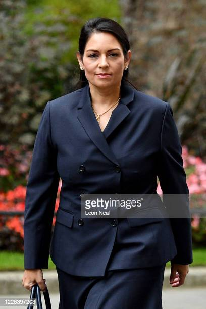 Secretary of State for the Home Department Priti Patel arrives at Downing Street on September 8, 2020 in London, England.
