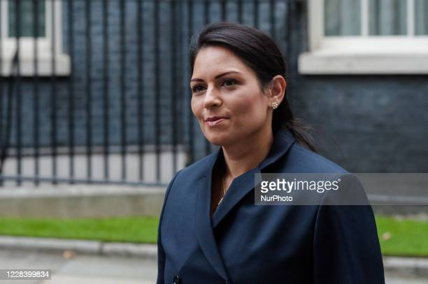 Secretary of State for the Home Department Priti Patel arrives in Downing Street in central London to attend Cabinet meeting temporarily held at the...