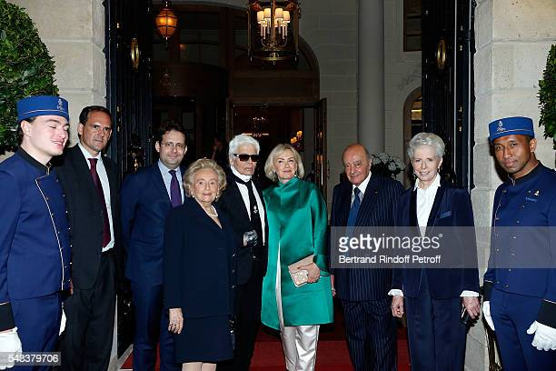 Secretary of State for Tourism Matthias Fekl Bernadette Chirac Karl Lagerfeld Heini Wathen Mohamed AlFayed and Beatrice de Plinval attend the Colonne...