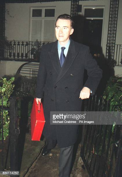 Secretary of State for Trade and Industry, Peter Mandelson leaving his London home. Revelations that Mandelson borrowed 373,000 from Paymaster...