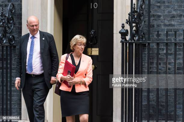Secretary of State for Transport Chris Grayling and Lord President of the Council and Leader of the House of Commons Andrea Leadsom leave after a...