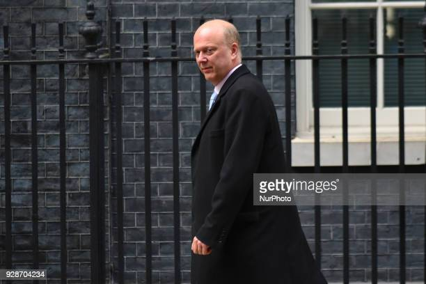 Secretary of State for Transport Chris Grayling arrives at Downing Street London on March 7 2018