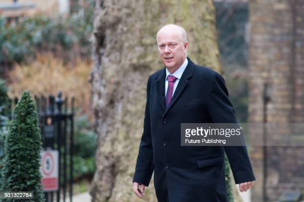 Secretary of State for Transport Chris Grayling arrives for a weekly cabinet meeting at 10 Downing Street in central London March 13 2018 in London...