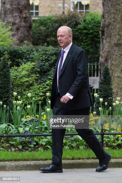 Secretary of State for Transport Chris Grayling arrives for a weekly cabinet meeting at 10 Downing Street in central London April 24 2018 in London...