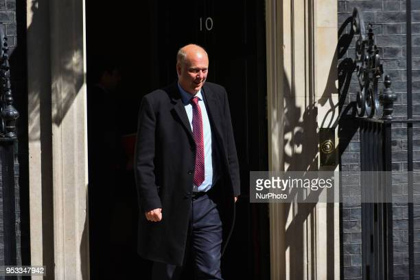 Secretary of State for Transport Chris Grayling arrives to attend the first cabinet meeting following the ReShuffle at Downing Street on May 1 2018...
