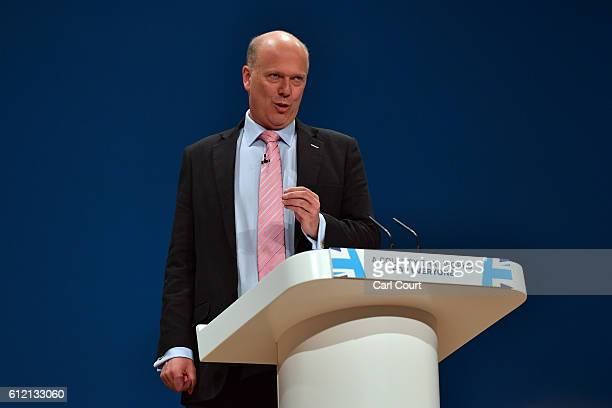 Secretary of State for Transport Chris Grayling delivers a speech about the economy on the second day of the Conservative Party Conference 2016 at...