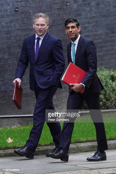 Secretary of State for Transport Grant Shapps and Chief Secretary to the Treasury Rishi Sunak arrive at Downing Street for the first Ministerial...