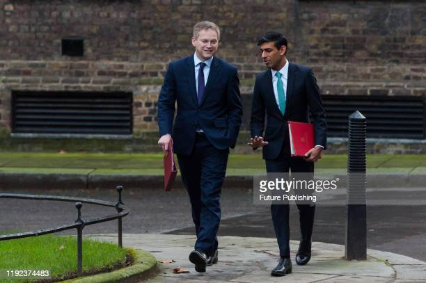 Secretary of State for Transport Grant Shapps and Chief Secretary to the Treasury Rishi Sunak arrive in Downing Street in central London to attend a...