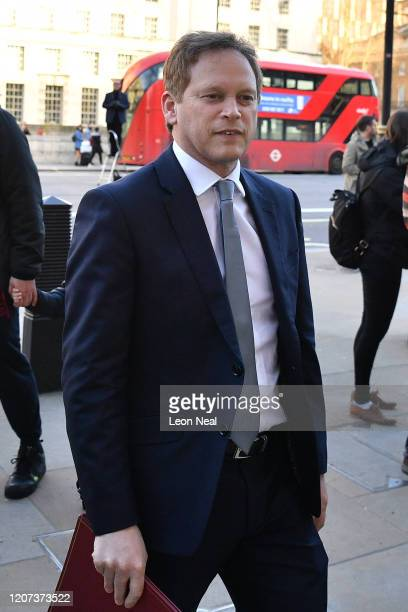 Secretary of State for Transport Grant Shapps arrives at the Cabinet Office after a COBRA meeting ahead of the first daily public updates on March 16...