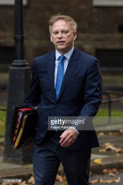 Secretary of State for Transport Grant Shapps arrives in Downing Street in central London to attend Cabinet meeting at the Foreign Office on 20...