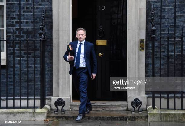 Secretary of State for Transport Grant Shapps leaves 10 Downing Street following a Cabinet meeting on January 14 2020 in London England