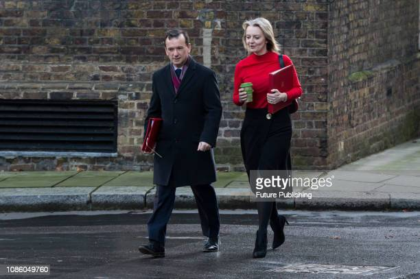 Secretary of State for Wales Alun Cairns and Chief Secretary to the Treasury Elizabeth Truss arrive for a weekly Cabinet meeting at 10 Downing Street...