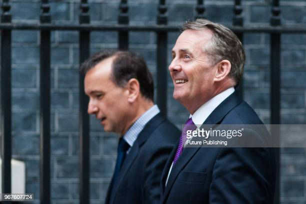 Secretary of State for Wales Alun Cairns and Secretary of State for International Trade and President of the Board of Trade Liam Fox arrive for a...
