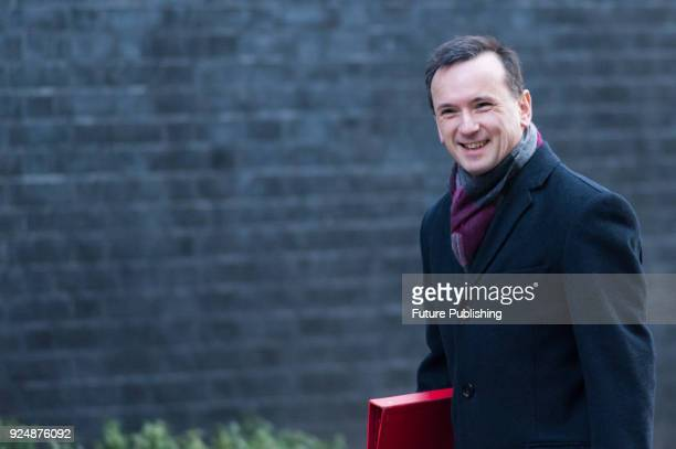 Secretary of State for Wales Alun Cairns arrives for a weekly cabinet meeting at 10 Downing Street in central London February 27 2018 in London...