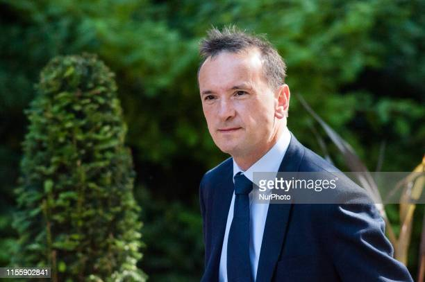 Secretary of State for Wales Alun Cairns arrives for the weekly Cabinet meeting at 10 Downing Street on 16 July 2019 in London England