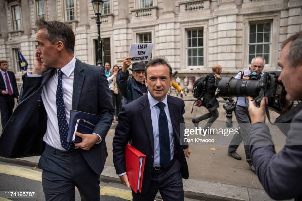 Secretary of State for Wales Alun Cairns leaves the Cabinet Office onto Whitehall on September 12 2019 in London England