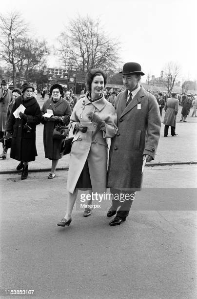 Secretary of State for War John Profumo with his wife Valerie Hobson at Sandown Park Racecourse 22nd March 1963