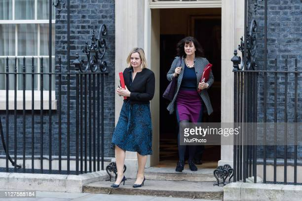 Secretary of State for Work and Pensions Amber Rudd and Minister of State for Energy and Clean Growth Claire Perry leave 10 Downing Street in central...