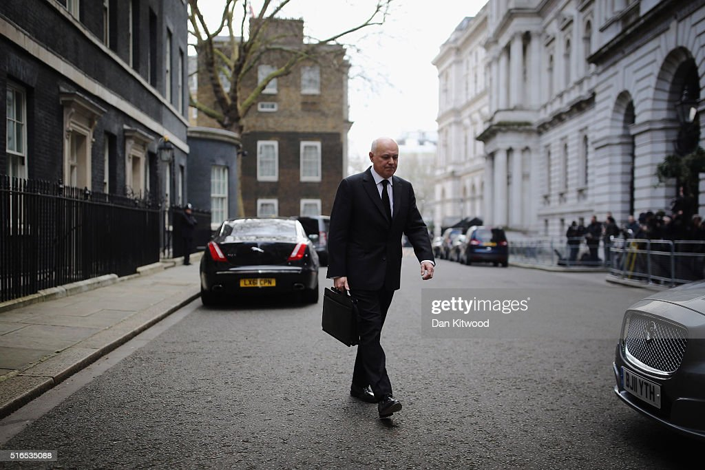 Secretary of State for Work and Pensions Iain Duncan Smith leaves Downing Street after a Cabinet Meeting on March 16, 2016 in London, England. The Chancellor of the Exchequer George Osborne will deliver the next Budget today, where he will state that he needs to cut 50 pence in every £100 that the Government spends by 2020.