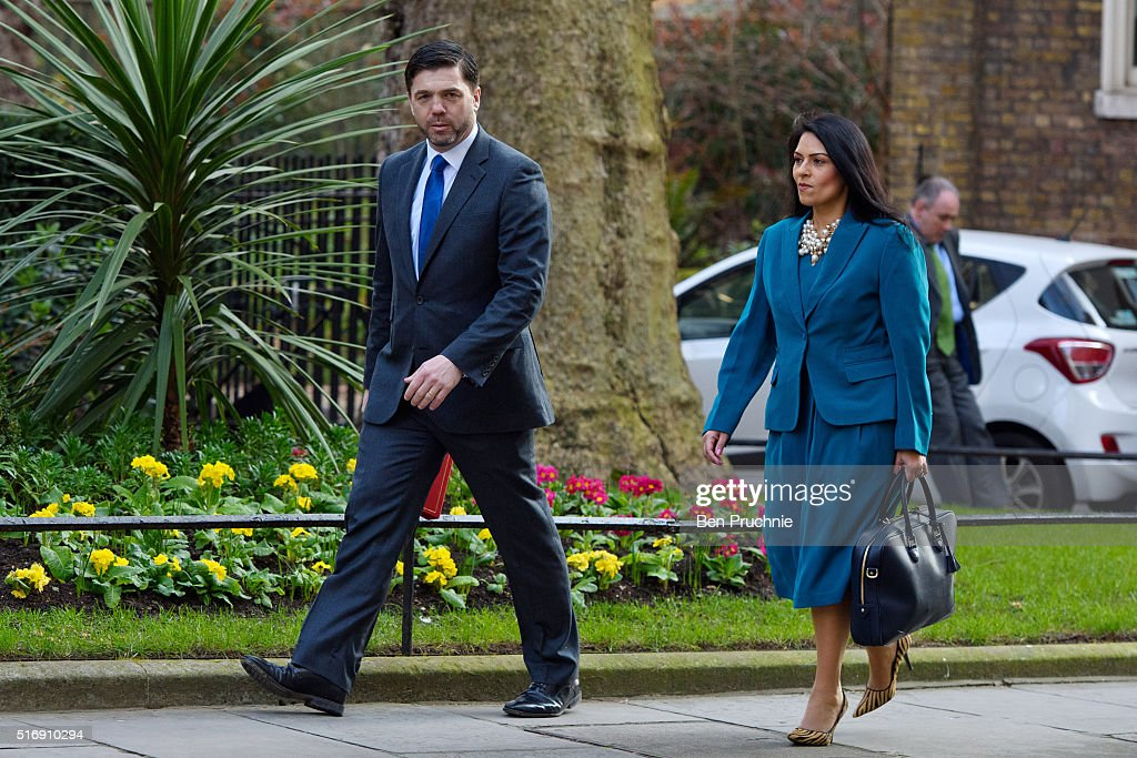Secretary of State for Work and Pensions Stephen Crabb and Minister of State for Employment Priti Patel arrives for the weekly cabinet meeting chaired by British Prime Minister David Cameron at Number 10 Downing Street on March 22, 2016 in London, England. Today is the first cabinet meeting since Iain Duncan Smith was replaced by Stephen Crabb as Secretary of State for Work and Pensions. (Photo by Ben Pruchnie/Getty Images