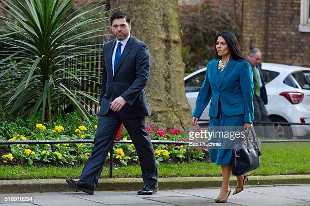 Secretary of State for Work and Pensions Stephen Crabb and Minister of State for Employment Priti Patel arrives for the weekly cabinet meeting...