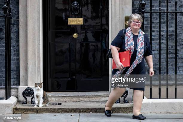 Secretary of State for Work and Pensions Therese Coffey leaves 10 Downing Street following the first post-reshuffle cabinet meeting on September 17,...