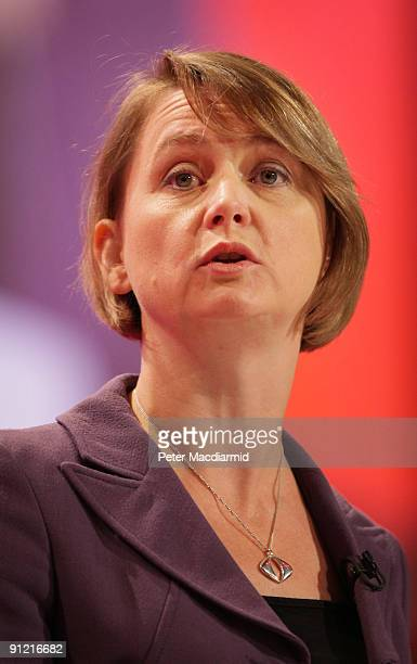 Secretary of State for Work and Pensions Yvette Cooper speaks at The Labour Party Conference on September 28 2009 in Brighton England The Chancellor...