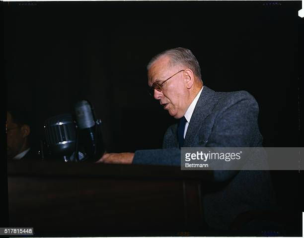 Secretary of State George Marshall is shown seated before the Senate Foreign Relations Committee in regard to the Marshal Plan.