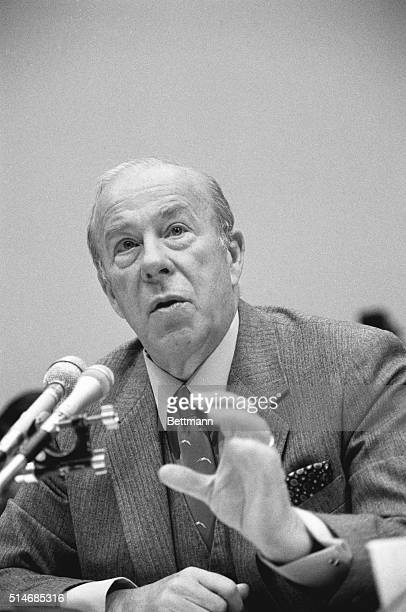 Secretary of State George Shultz testifies at the Iran-Contra hearings before the House Foreign Affairs Committee in December, 1986