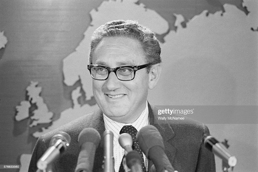 Secretary of State Henry Kissinger make a statement in the State Department briefing room after receiving the Nobel Peace prize.