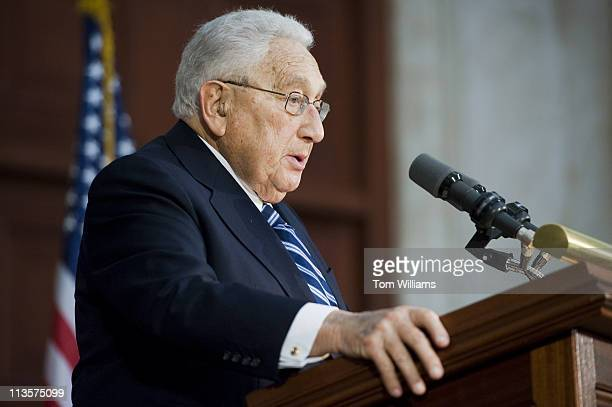 May 3: Secretary of State Henry Kissinger speaks during the statue unveiling ceremony for President Gerald Ford in the rotunda of the Capitol.